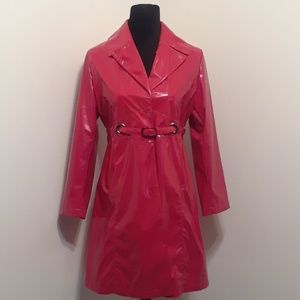 Via Spiga Patent Leather Belted Trench Jacket ❤❤
